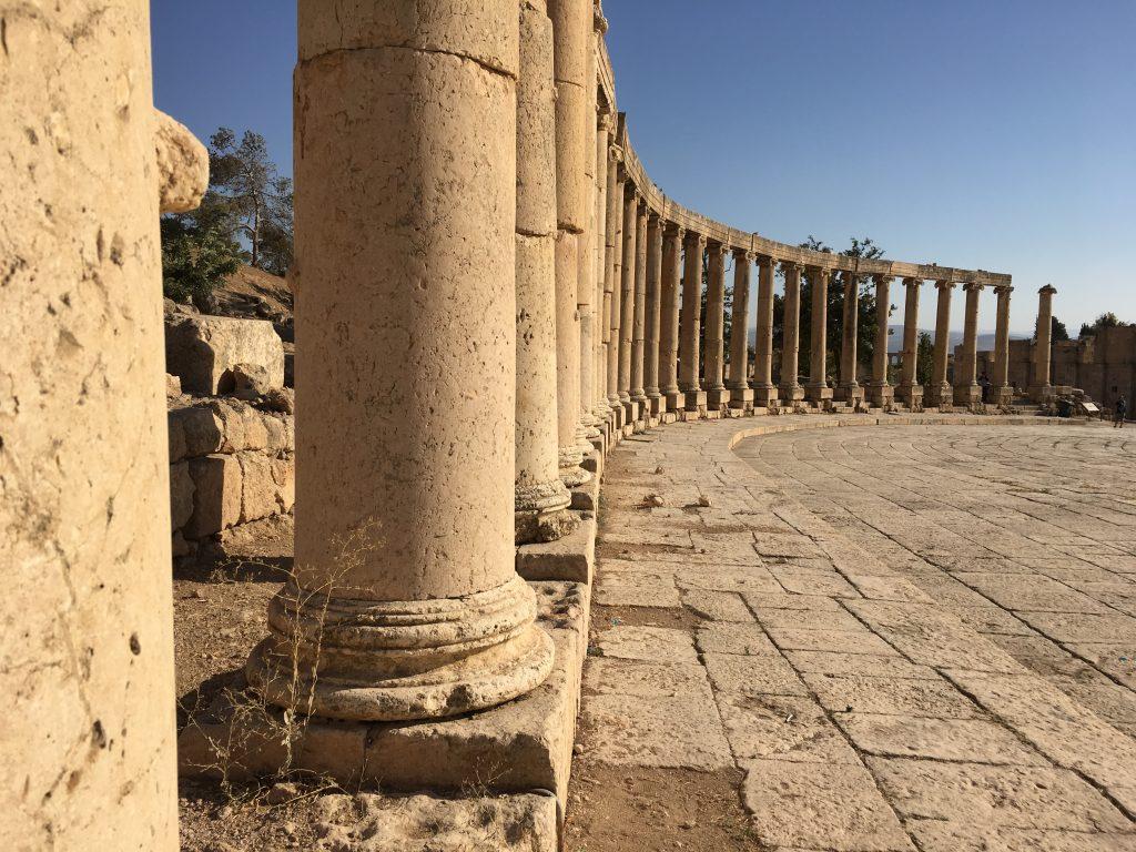 Greek Ionic columns surrounding the Roman forum.