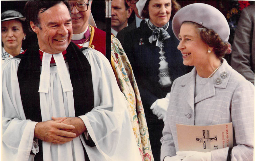 Queen Elizabeth II and the Very Rev. James E. Carroll at St. Paul's Cathedral, San Diego during her 1983 visit.